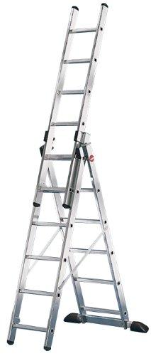 Hailo ProfiStep-Combi - Escalera industrial 3 tramos de aluminio con estabilizador recto (3 x 6 peldaños)