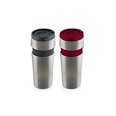 Hamilton Beach Mini Stainless Contour Grip Travel Mug Set (2 Pack), 12 oz, Black/Red - MCG2-482