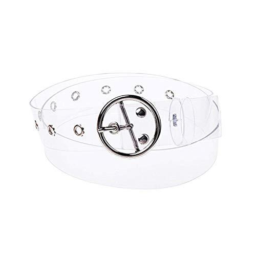 PPX Mujeres Cinturón Joker Resina De Plástico Transparente Cinturón Forma Redonda Hebilla Cinturón Jeans Accesorios Cinturones de ojal con forma de corazón/redondo/cuadrado (Silver Round)