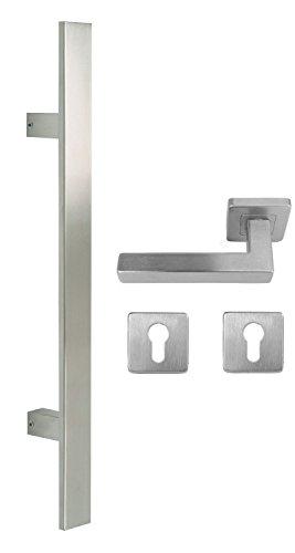 Edelstahl Haustür Beschlag- Flachgriff- Set auf quadratischen Rosetten 841S Länge: 1200 mm