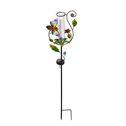 Evergreen Garden Twinkling Light Solar Rain Gauge Garden Stake with Bee Accent, 36.25' H. Decorative Rain Gauge for Your Garden or Yard
