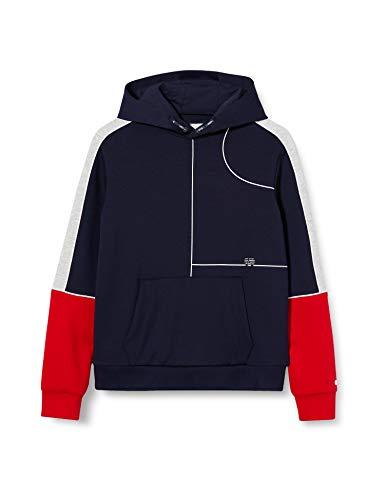 IKKS Junior Sweat Capuche Manches Rouge/Gris Shirt, Bleu (Na