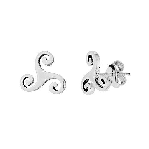 Silverly Women's .925 Sterling Silver 0.9 mm Celtic Triskelion Triskele Triple Spiral Stud Earrings