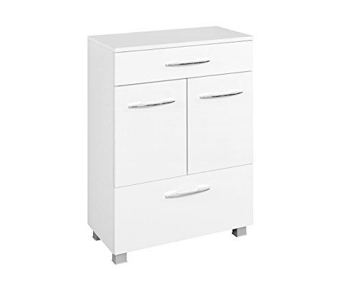 lifestyle4living Badezimmerschrank in Weiß, breit | Halbhoher Unterschrank mit 2 Türen, 1 Schubkasten, 1 Auszug