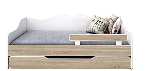 BDW Cama infantil con 2 superficies de descanso y 2 colchones de 160 x 80 cm, roble Sonoma