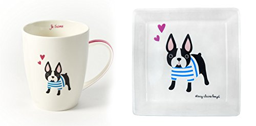 Stacy Claire Boyd Kennel Club French Bulldog Mug and Plate Set
