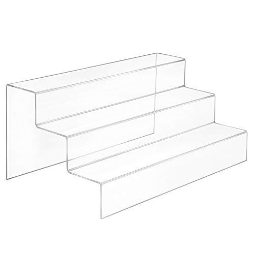 Dekotreppe 3-Stufig (400x185x250mm) aus glasklarem Acrylglas - Zeigis® / Stufendisplay/Präsentationstreppe/Treppendisplay/Treppenständer/Präsentations-Treppe/Warenträger/Acryl/Transparent