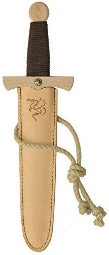 Stabiles Drachendolchset, 35cm Länge mit Drachendolch aus Buche-Echtholz und Dolch-Scheide aus Echtleder [Tolles Drachen-Design | Viele Details| Made in Germany]