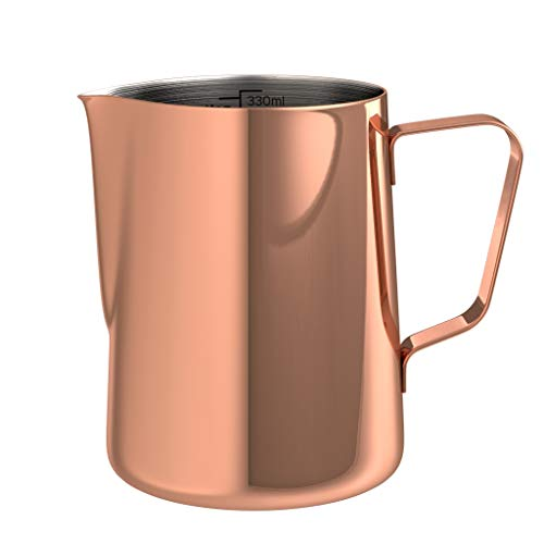 bonVIVO Muvo Stainless Steel Milk Jug With Copper Finish, Milk Frother Pitcher 12 Fl-Oz, Barista Tools Milk Frothing Pitcher With Practical Scale, Perfect for Cuban Coffee, Cappuccino Or Latte