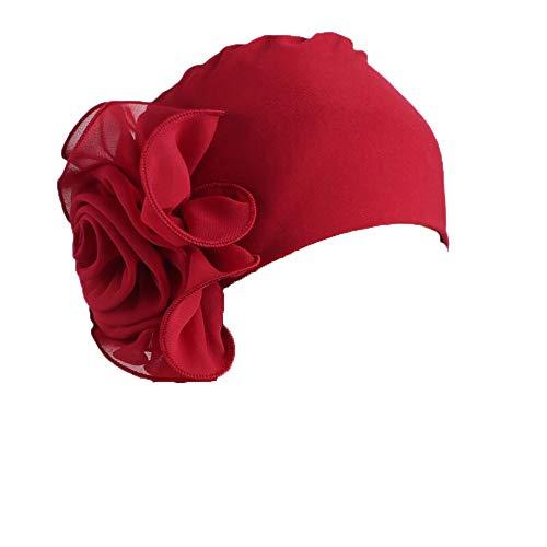 Gorra Beanie De Tela con Un Adorno De Flor Grande Estilo Retro Elegante Turbante para Cabeza De Mujer para Boda Fiesta Cáncer Quimioterapia Chemo Oncológico Noche Pèrdida de Pelo (Granate, 1)