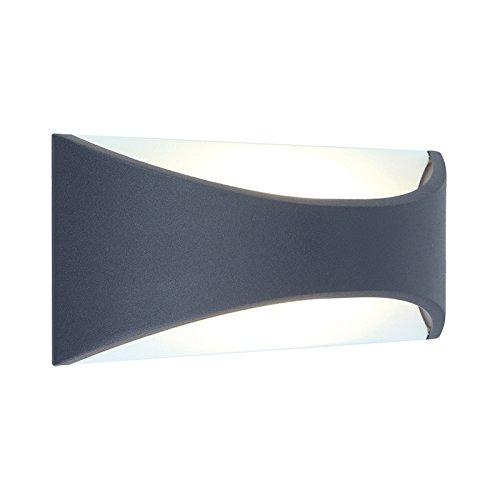 Vision-EL 770431 Applique Murale LED 6 Watt 230V 3000°K Anthracite IP65, Aluminium/PC, 6 W, Gris I x H-220 x 90 x 80 mm