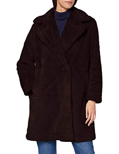 French Connection Banna Faux Fur Long Coat Abrigo de piel sintética, STONE GREY, Extra Large para Mujer