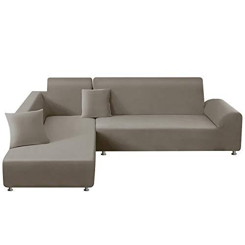 TAOCOCO Copridivano con Penisola Elasticizzato Chaise Longue Sofa Cover Componibile in Poliestere a Forma di L (Marrone Chiaro, 2 Posti+3 Posti)