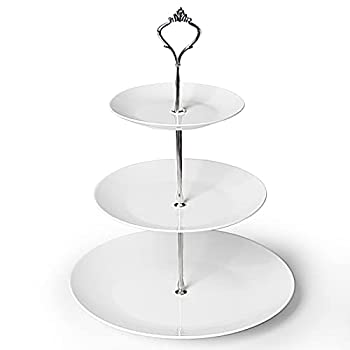 ONTUBE 3-Tier Cake Stand Ceramic Cupcake Dessert Stand Tiered Serving Trays for Parties Birthday and Wedding Silver