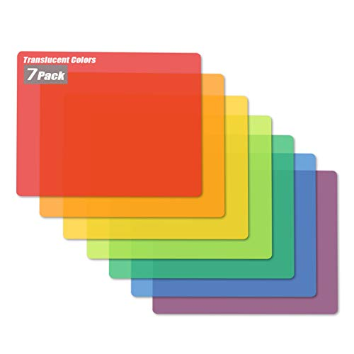 Flexible Plastic Cutting Board Mats, 7 Translucent Colors by Better Kitchen Products, Fotouzy BPA-Free, Non-Porous, and Dishwasher Safe, Set of 7
