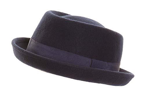 Hawkins - Chapeau porkpie Heisenberg en laine feutre avec bande - S/M - 57cm, Bleu