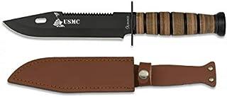 Cuchillo USMC Hoja 18 cm para Caza, Pesca, Camping, Outdoor, Supervivencia y Bushcraft Albainox 32424 + Portabotellas de regalo