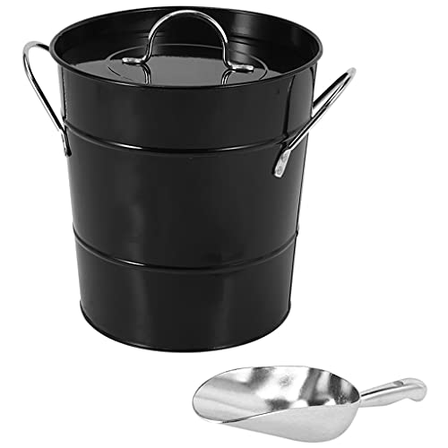 WZHZJ HOT Thickened Tin Bucket with Lid Ice Bucket Portable Round Small Ice Bucket Bar Beer Bucket Ice Cube Container
