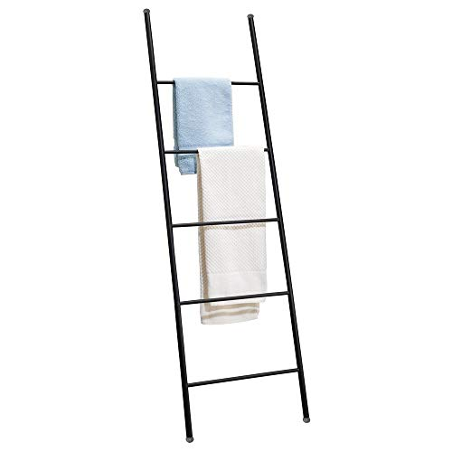 mDesign Metal Free Standing Bath Towel Ladder Storage Organization, Rack for Bathroom, Bedroom, Laundry Room - Matte Black