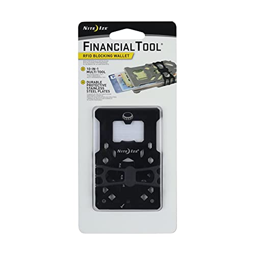 Nite Ize FMTR-01-R7 Financial Tool RFID Blocking Wallet, Stainless Steel 10-in-1 Dual-Plated Multi Tool Wallet With RFID Blocking Protection, Black