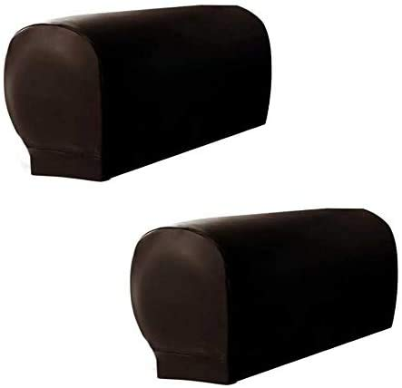 skyfiree Set of 2 Stretch Sofa Armrest Cover PU Leather Armchair Arm Covers Sofa Arm Caps Waterproof Sofa Slipcovers Arm Caps Furniture Protector for Recliner Sofa (Coffee)