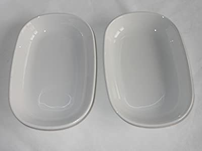 "Vintage Corning Ware All White SIDEKICK Plate Baking Dish P140B ( P-140-B ) 6-3/4"" inch by 4-1/2"" inch SMOOTH BOTTOM - ORIGINAL PYROCERAM GLASS - NOT STONEWARE - SET OF TWO (2) SIDEKICK PLATES"