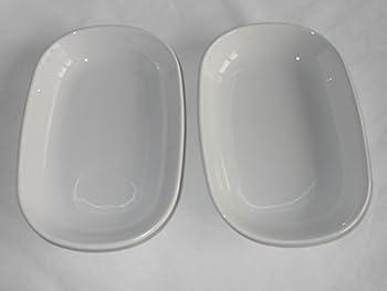 Vintage Corning Ware All White SIDEKICK Plate Baking Dish P140B   P-140-B   6-3/4  inch by 4-1/2  inch SMOOTH BOTTOM - ORIGINAL PYROCERAM GLASS - NOT STONEWARE - SET OF TWO  2  SIDEKICK PLATES