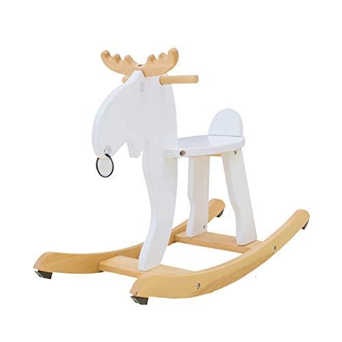 YWSZJ Kindermassivholz Kinderschaukelpferd-Baby-Schaukelstuhl-Fahrt auf Spielzeug for Jungen und Mädchen (Color : White)