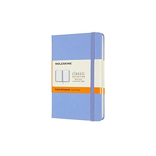 Moleskine - Cuaderno Clásico con Hojas de Rayas, Tapa Dura y Cierre con Goma Elástica, Tamaño de Bolsillo 9 x 14 cm, Color Azul Hortensia, 192 páginas