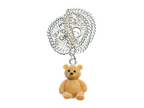 Miniblings Teddy Bär Kette Halskette Bären Gummi 18mm Bärchen 45cm versilbert