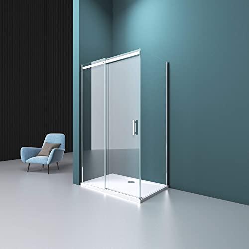 Mai & Mai Paroi de douche cabine de douche 80x120 avec porte de douche coulissante côté gauche verre trempé transparent RAV18