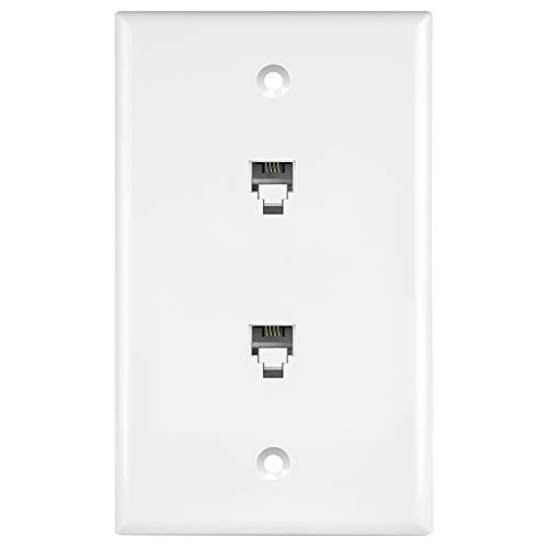 Enerlites 6651-W Duplex Phone Jack Wall Plate 1 Gang 2 Modular with 6-Position 4-Conductor RJ11, White