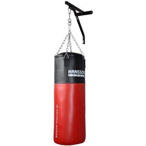 Hansson.Sports Boxsack gefüllt 25kg 80x30cm mit Wandhalter, Stahlkette & Drehwirbel