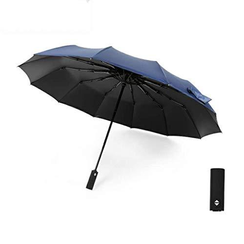 YNHNI 12 Knochen vollautomatisch Glue Faltschirme Anti-Wind-männliche und weibliche Bewehrung Sonnenschutz Sun-Regenschirm Parasol-UV-Schutz,tragbar (Color : Blue)