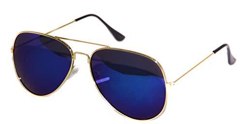 Foxxeo verspiegelte Pilotenbrille Karneval Party Brille Pilot dunkelblau Sonnenbrille