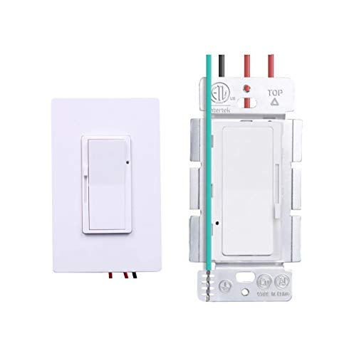CreseaProducts 120V Triac LED Wall Dimmer Switches for 150W Dimmable LED/CFL, 600W Incandescent/Halogen Bulbs, Single-Pole or 3-Way, ETL Listed, White, Wall Plate Included