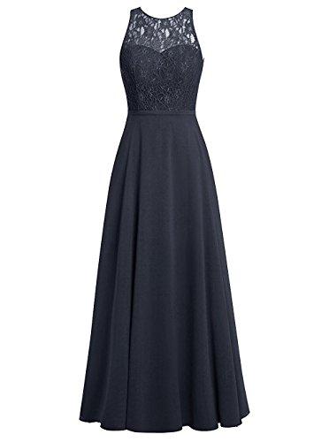 Carnivalprom Damen Chiffon Promi-Kleider Rückenfrei Abendkleider Elegant Lang(Navy Blau,44)