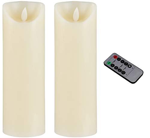 Flammenlose LED-Kerze, flackernde Bewegung, 22,9 cm, batteriebetrieben und ferngesteuert, mit Timer, Echtwachs, dekorative Elfenbeinkerze, 7,6 x 22,9 cm 2-piece