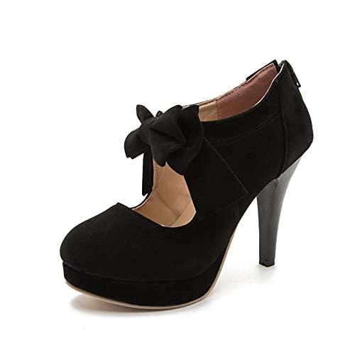 Women's Vintage Bowtie Pumps Platform High Heel Dress Shoes Black Label Size 47-285mm - US 13