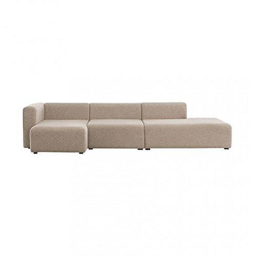 HAY Mags 3-Sitzer Sofa 321x127,5x67cm, beige Stoff Remix 233 Chaiselongue Links mit Filzgleiter Füße Kiefernholz schwarz gebeizt
