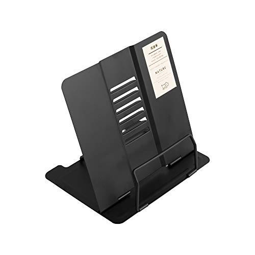 JUNSHUO Soporte de Libro de Metal Ajustable portátil, Soporte de reposapiés Plegable Antideslizante Soporte de Libro de Escritorio Libro de Cocina Receta Lectura Soporte de documento, negro