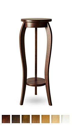 Mesita auxiliar de haya maciza, ideal como soporte de maceta de flores, madera, caoba, 28x75