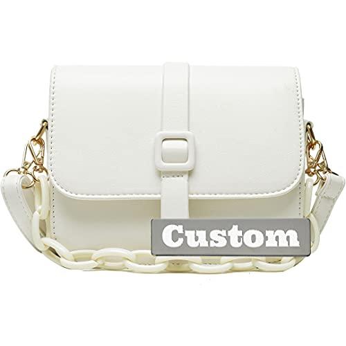 Nombre personalizado Bolso de cuero delgado de Crossbody para mujeres Pequeña mochila pequeña Black Black Chain Strap (Color : White, Size : One size)