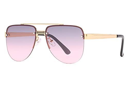 ODNJEMSD Nuevas Gafas De Sol Sin Montura Gafas De Sol Redondas con Montura Grande para Hombres