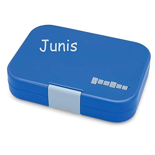 YUMBOX Panino (mit 4 Fächern) - PERSONALISIERBAR - Brotbox/Lunchbox/Bento Box mit fester Fächer-Unterteilung - auslaufsichere Brotdose für Schule - ideal zur Einschulung (True Blue (mit Namen))