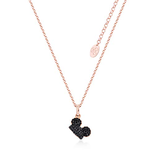Disney Mickey Mouse - Cappello placcato oro rosa con cristallo Swarovski® nero collana ciondolo