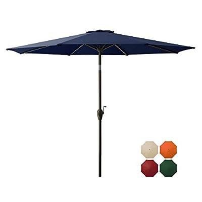 DOMICARE 9 ft Patio Umbrella,Table Umbrella Outdoor Market Umbrella with 8 Ribs, Easy Push Button Tilt and Crank - Navy