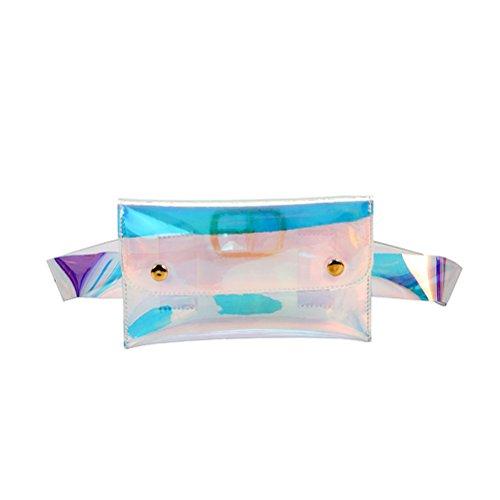 OULII Mini Transparente Hologramm Bauchtasche Hüfttasche Brusttasche Clutch mit Ketten für Damen Mädchen (Bunt)