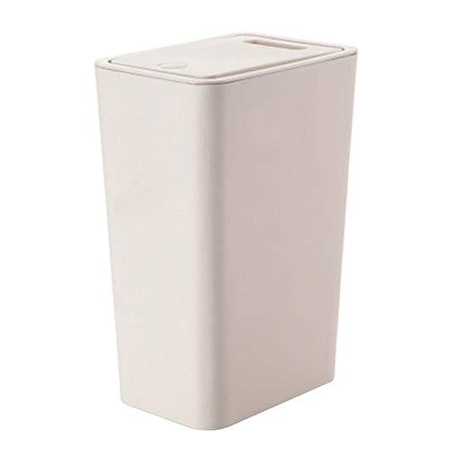 Renquen Papelera de plástico creativa para dormitorio, tipo empuje, para cocina, para sala de estar, hogar, oficina, escritorio