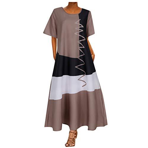 Einschulungskleider Mädchen Etuikleid Damen Sommer Frotteekleid Damen Unterkleid Baumwolle Kleider Elegant Yoga Set Damen Bekleidung Damen Maxikleid Sommer(Khaki,XL)